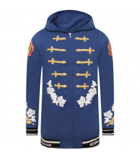 DOLCE & GABBANA KIDS Royal blue girl jacket with gold decorative trim
