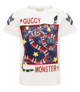 GUCCI KIDS Ivory T-shirt with vitange logo and colorful tigers