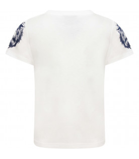 dba672797a3 ... GUCCI KIDS Ivory T-shirt with vitange logo and colorful tigers