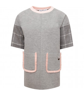 SIMONETTA Grey girl dress with pink details