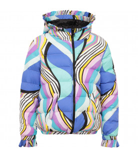 EMILIO PUCCI JUNIOR Colorful girl bombre jacket with iconc print