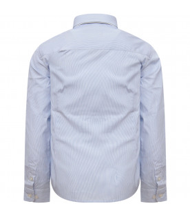 ARMANI JUNIOR   Heavenly and white shirt with heavenly iconic logo