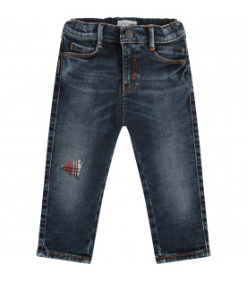 ARMANI JUNIOR Blue jeans with metallic logo