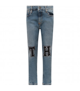 TOMMY  HILFIGER JUNIOR Light blue boy jeans with black patches