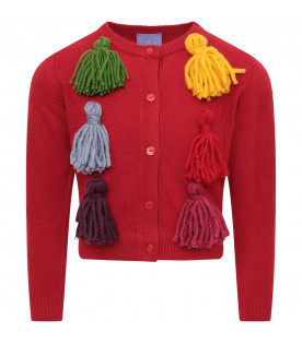 STELLA JEAN KIDS Red girl craddigan with colorful tassels