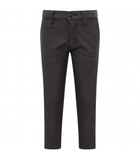 ARMANI JUNIOR   Grey boy pants with micro-pattern