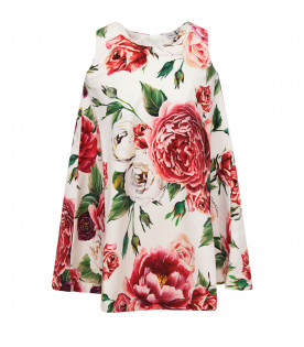 DOLCE & GABBANA KIDS White girl dress with colorful peonies