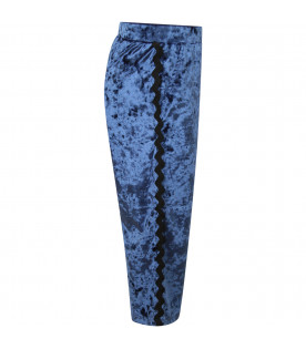 DOUUOD KIDS Blue girl trousers with black trimming