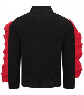 DOUUOD KIDS Black girl sweater with red ruffle