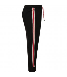 DOUUOD KIDS Black girl pants with white and red stripes