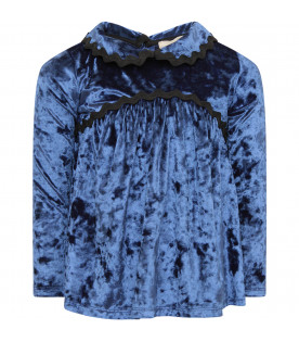 DOUUOD KIDS Blue girl blouse with black trimming