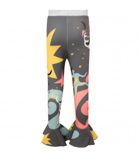 Grey girl leggings with colorful prints