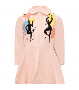 Pink girl dress wuth colorful patches