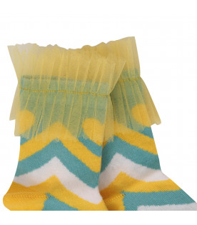 RASPBERRY PLUM Multicolor socks with yellow tulle