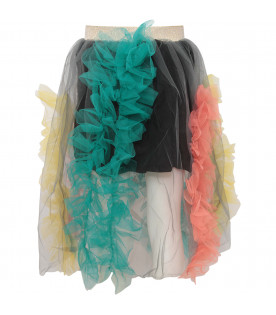 RASPBERRY PLUM Grey girl skirt with colorful ruffles