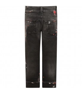GOGANGA Grey boy jeans with colorful spots