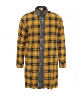Yellow girl dress with check