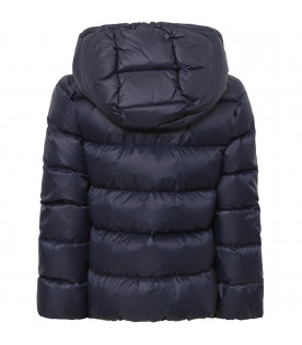 GUCCI KIDS Blue girl bombeer jacket with red and blue Web detail