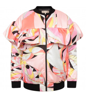 EMILIO PUCCI JUNIOR Pink girl bomber jacket with iconic print