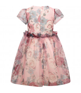 SIMONETTA Pink girl dress with colorful flowers