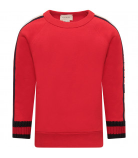 GUCCI KIDS Red boy sweatshirt with iconic logo