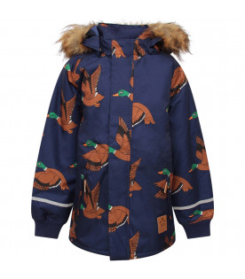 MINI RODINI Blue boy jacket with colorful all-over ducks
