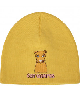 MINI RODINI Yellow girl and babygirl cat campus hat