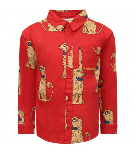 MINI RODINI Red boy shirt with colorful dogs