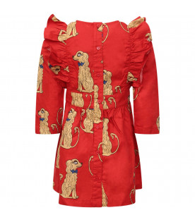 MINI RODINI Red girl dress with colorful all-over dogs