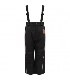 MINI RODINI Black kids dungarees with iconic patch