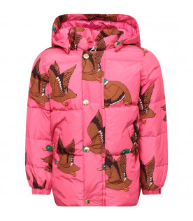 MINI RODINI Fuchsia girl jacket with colorful all-over ducks