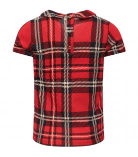 MINI RODINI Red girl checked T-shirt