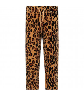 MINI RODINI Beige girl sweatpants with animalier print