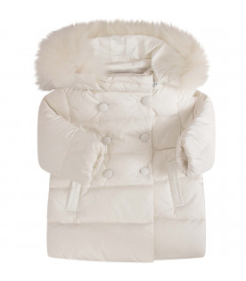 BLUMARINE BABY White jacket with metallic logo