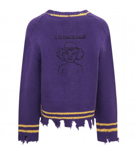 RICCARDO COMI KIDS Purple cardigan with yellow details