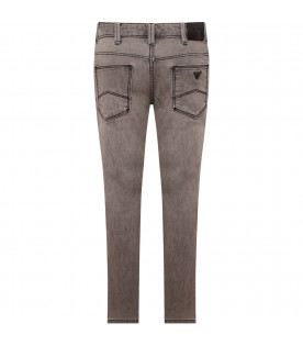 ARMANI JUNIOR   Grey boy jeans with iconic logo