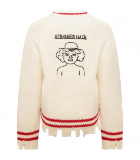 RICCARDO COMI KIDS Ivory sweater with red details