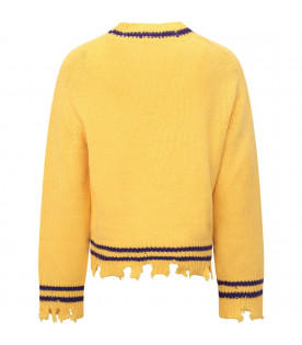 RICCARDO COMI KIDS Yellow sweater with black mushrooms