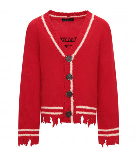 RICCARDO COMI KIDS Red cardigan with ivory details