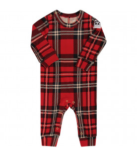 a3449c3ceede8 MINI RODINI Red babykid babygrow with colorful check ...