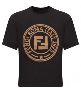FENDI KIDS Black kids T-shirt with brown logo