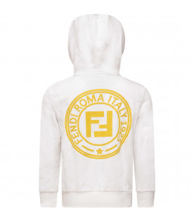 FENDI KIDS White kids sweatshirt with yellow logo