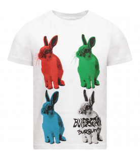 BURBERRY KIDS White kids T-shirt with colorful rabbits