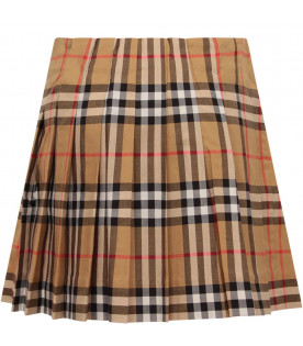 BURBERRY KIDS Beige girl skirt with vintage check