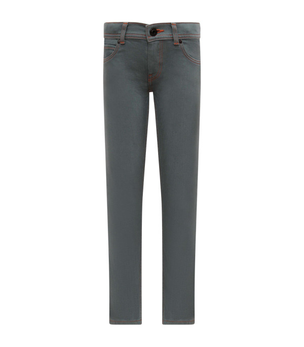BURBERRY KIDS Light blue boy jeans with iconic logo