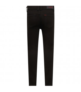 BURBERRY KIDS Black girl jeans with red logo