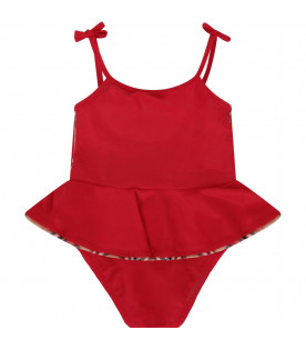 BURBERRY KIDS Red babygirl swimsuit