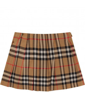 BURBERRY KIDS Beige babygirl skirt with vintage check