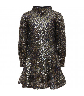 LITTLE MARC JACOBS Blue girl dress with gold sequins