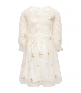 BILLIEBLUSH Ivory girl dress with silver and gold stars
